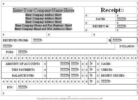business receipt forms com